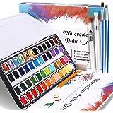 WOSTOO Set de Peinture Aquarelle, Boîte d'Aquarelle 48 Couleurs-Peinture à l'Aquarelle Portable Artiste Fournitures avec 20 P