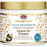 African Pride Moisture Miracle Coconut Oil & Baobab Oil Leave-In Cream - Provides Intense Moisture & Helps Repair Natural Coi