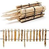 Natürlicher Steckzaun aus Holz in 3 Größen (Haselnuss) mit integrierten Pfosten · Rollboarder für Beetumrandung und Wegabgrenzung · 33 x 120 cm (Lattenabstand 3-5 cm)