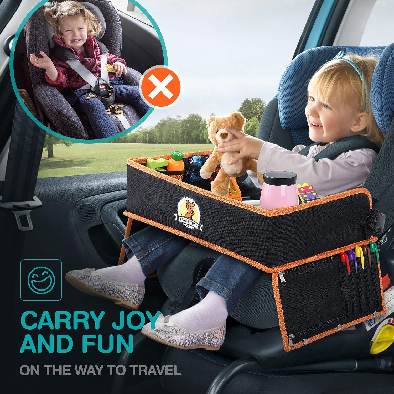 LENBEST Vassoio di Viaggio Premium a Doppio uso Con top trasparente cancellabile a secco Vassoio Pieghevole carta da disegno educativo di set auto passeggino Organizer per sedile auto aereo