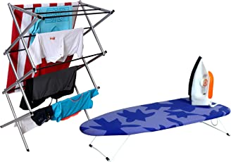 Magna Homewares Accordion Cloth Drying Stand with Free Table Top Iron Board