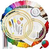 HEPAZ borduurset, kruissteek starterkit, borduurwerk kruissteek tool kit, inclusief 100 kleurdraden, 5 bamboe borduurlijsten,