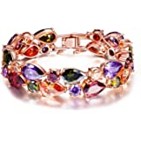 Jewels Galaxy Valentine Gifts Multi Colors Vine AAA Swiss CZ 18K Rose Gold Plated Sparkling Bangle for Women/Girls