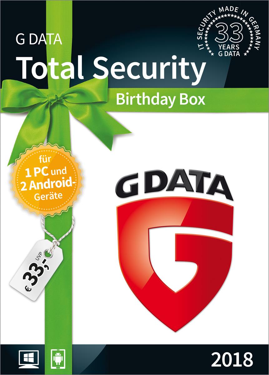"""G DATA Total Security \""""Birthday Box\"""" für 1 Windows-PC und 2 Android-Geräte / 1 Jahr / Erstklassiger Rundumschutz durch Firewall & Antivirus / Trust in German Sicherheit  [Download]"""
