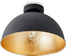 Elegant B.K.Licht Design Industrielle Vintage Deckenleuchte Φ 30cm Exkl. E27  Leuchtmittel, Schwarz Für Wohnzimmer