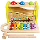 TOWO Juguete Musical Martillo y Pelotas - Instrumento Musical de Juguete de Madera de xilófono para bebes - Juguete de Martil