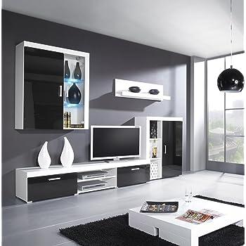 Wohnwand SAMBA mit LED Beleuchtung Wohnzimmer Möbel (Weiß / Schwarz ...