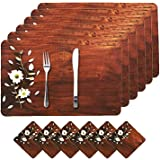Amazon Brand - Solimo PVC Dining Table Placemat and Tea Coaster Set, Set of 6, Floral, Brown