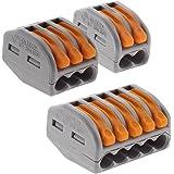 Assortiment de 50 mini bornes de connexion rapide à levier S222 pour fils rigides et souples - 20x 2 entrées + 20x 3 entrées
