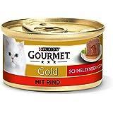 Purina GOURMET Gold Smeltende kern: kattenvoer, nat voer voor volwassen katten, pasta met sauenkern, hoeveelheid: 12 stuks (1
