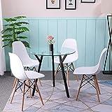 VIKO Meubletmoi Table Ronde 120 cm Plateau Verre fum/é Structure Acier en /étoile Design Contemporain