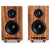 RÖTH & MYERS Twin Speakers HiFi - Altavoces WiFi/Bluetooth. Altavoces de estantería. Diseño Único en Madera de Zebrano 100% N