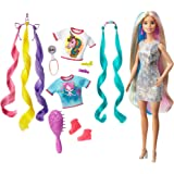 Barbie Bambola Capelli Fantasia A Tema Unicorni E Sirene con Accessori, Giocattolo Per Bambini 3+ Anni, GHN04