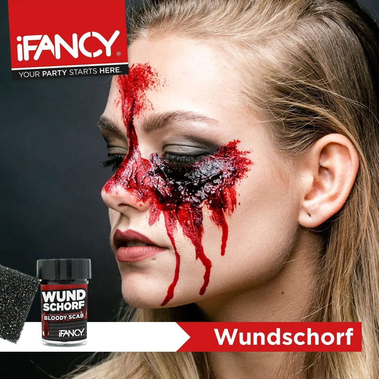 iFancy Wundschorf Blut (50ml) mit Schwamm für realistische Wunden - XXL-Edition verkrustetes Kunstblut Halloween…