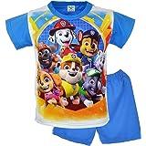 Pyjama pour enfant - 100 % coton - Manches courtes - Vêtement de nuit - Ensemble de pyjama - Motif : Pat' patrouille - Bleu -