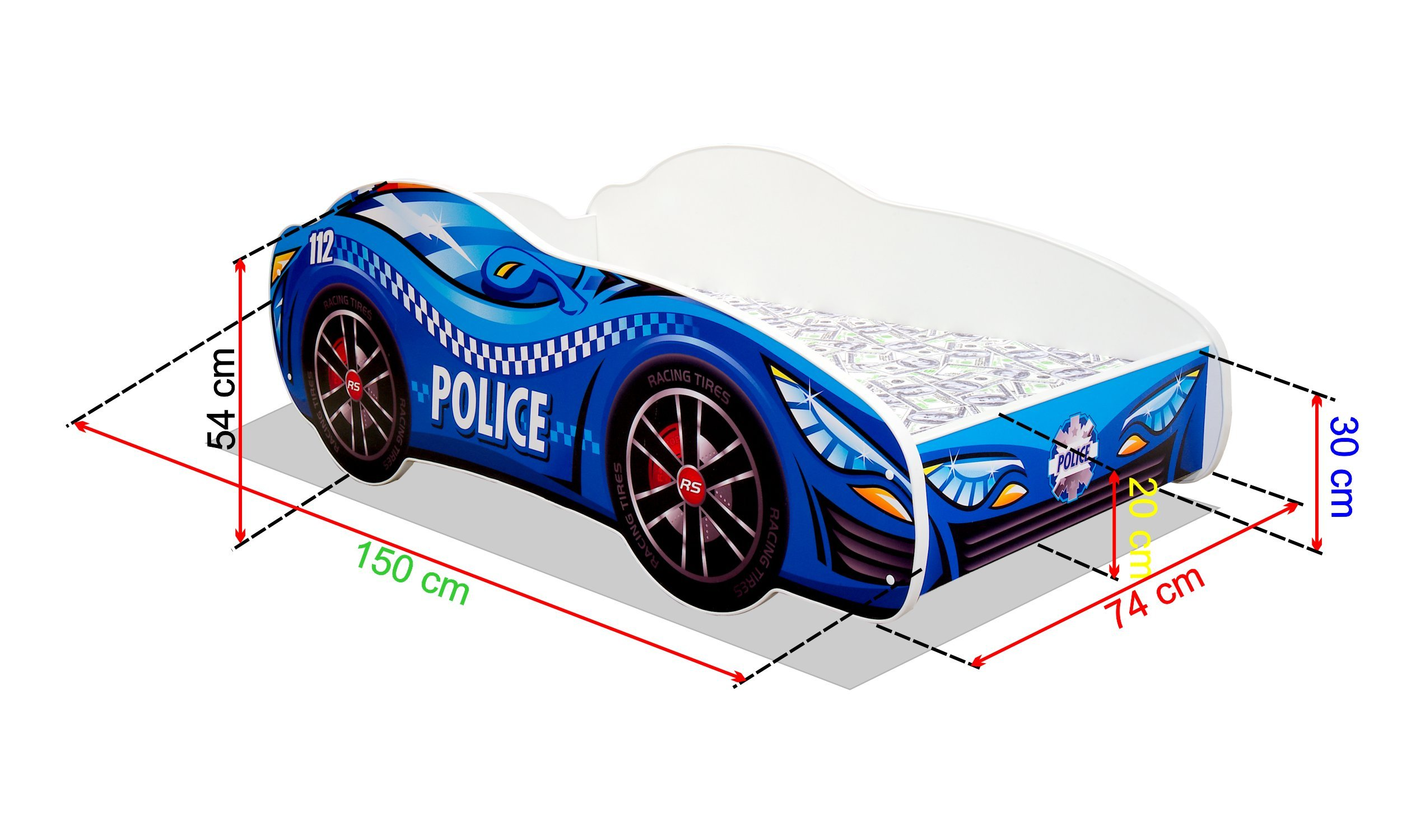Toddler Boy Bed Kids Bed Junior Children's Single Car Bed with Mattress Included - Racing Car (Police, 140x70)  Wonderhome24