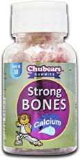 CHUBEARS Strong Bones Calcium and Vitamin D (400 IU) Gummy Bears Naturally Flavoured Tasty Candy for Kids - 30 Gummies Pack