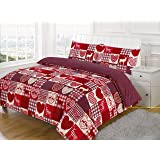Double Bed, New Christmas Patchwork Duvet / Quilt Cover Bedding Set