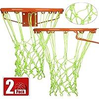 bowsugar 2 Pieces Basketball Net Luminous Basketball Net Nylon Braided Standard Net Outdoor Sun Powered Nightlight Basketball Net