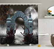 Gothic Decor Collection Scary Medieval Middle Age Stone Gate with Fog Full Moon and Ivy Dark Night Theme Artwork Polyester F