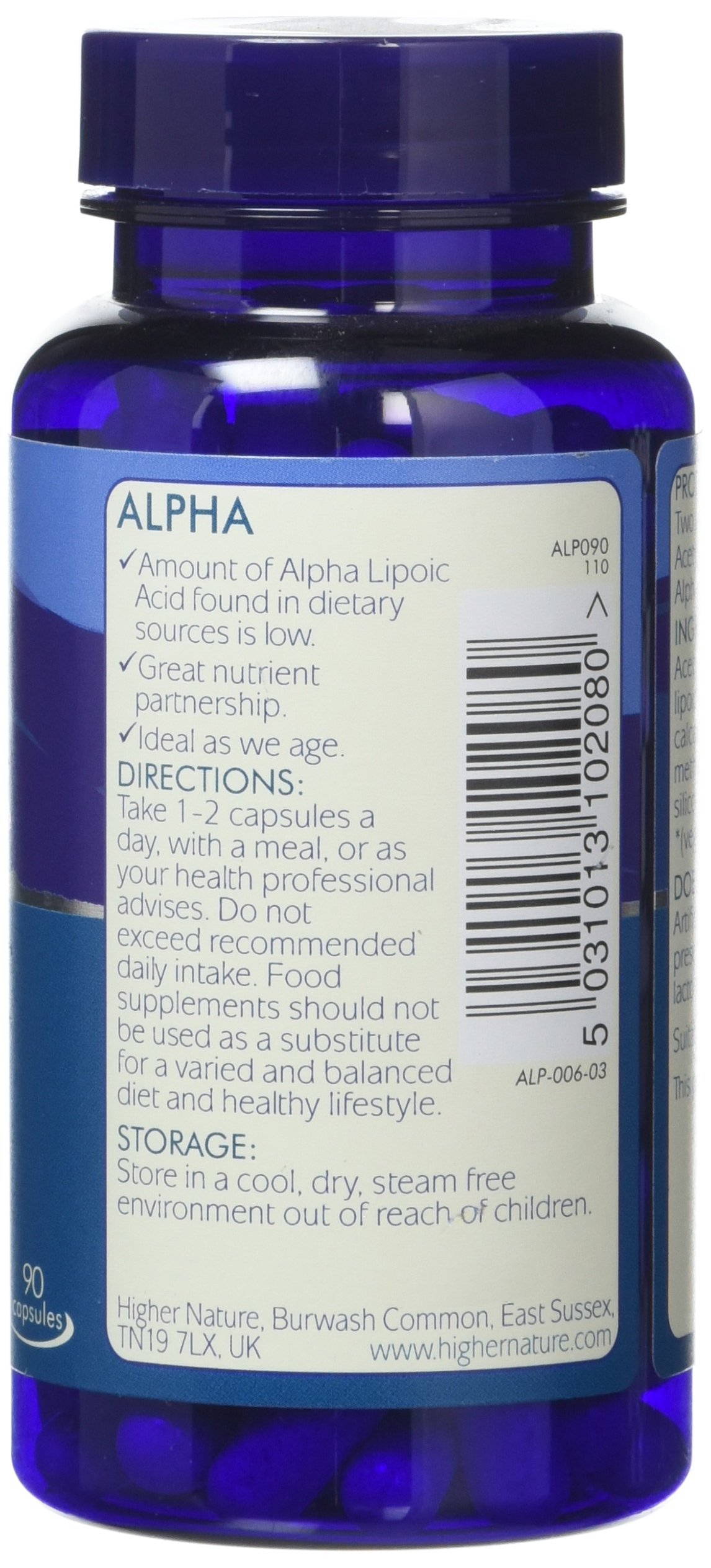 Higher Nature Alpha – Alpha Lipoic Acid and Acetyl-l-Carnitine – 90 Capsules