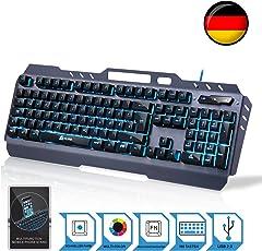 ⭐️KLIM Lightning – Neue 2018 Version – Hybrid Halbmechanische Tastatur QWERTZ DEUTSCH + Sieben Verschiedene Farben + 5-Jahre Garantie – Metallstruktur – Gamer Gaming-Tastatur für Videospiele PC PS4 Windows, Mac