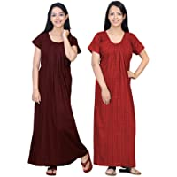 0-Degree Women Cotton Printed Ankle Length Maxi Night Gown Nighty Combo Pack of 2 Combo Pack of 3