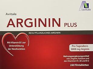 Avitale Arginin plus Tabletten mit 3000 mg rein pflanzlichem Arginin, Vitamin B1, B6, B12 und Folsäure, 240 Tabletten