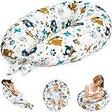 Cuscino Gravidanza per Dormire e Allattamento Neonato 165 x 70 cm - cuscino premaman e Riduttore Lettino XXL Bianco Con Anima