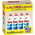 Dixan Classico Detersivo Liquido Lavatrice, Tecnologia Pulito Profondo, 4 x 20 Lavaggi
