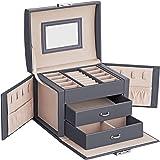 SONGMICS Smyckeskrin för resor, bärbar, låsbart smyckeskrin med 2 lådor, speglar, lås och nycklar, presentidé, grå JBC154G01