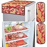 Amazon Brand - Solimo Fridge Organiser Set, (3 pcs Fridge Mat, 2 pcs Fridge Handle Cover, 1 Fridge Top Cover), Leaf, Red