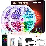 10M Tiras LED Wifi,WEILY sincronización de música que cambia de color Tira de luz LED RGB para dormitorio TV Decoración del h