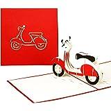"""3D Grußkarte""""Vespa"""" - Pop Up Karte Motorroller, ausgefallene Geburtstagskarte, Klappkarte Gutschein Vespa, 3D Glückwunschkarten mit Umschlag"""
