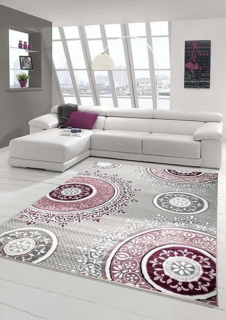 Designer Teppich Moderner Teppich Wohnzimmer Teppich Klassisch Gemustert  Kreis Ornamente In Pink Lila Grau Creme Größe 120x170 Cm: Amazon.de: Küche  U0026 ...