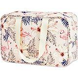 Kulturbeutel groß Dopp Kit Kosmetiktasche Reise Make-up Tasche Organizer für Damen und Frauen (Beige Flamingo)