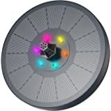 Fuente Solar con Luces LED, AISITIN 3W Solar Fuente Bomba con Filtrar y Barras Anticolisión Fijación, Para Estanques de Jardí