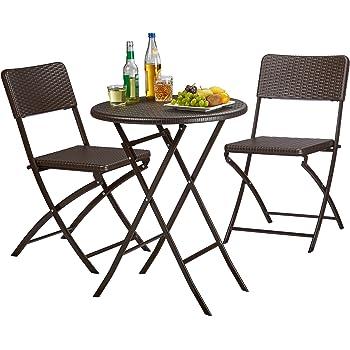 Relaxdays Gartenmöbel Set Bastian, Klappbar, 3 Teilig, Rattan Optik, Klein,  HBT Tisch: 75,5 X 60 X 60 Cm, Braun