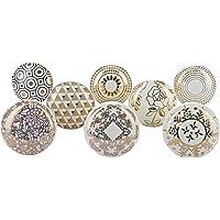 G Decor Lot de 8 boutons de porte en céramique, pour tiroirs de placards, style bohème, finition vintage, Doré royal