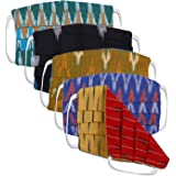 iTokri Handmade Reversible Ikat Design Unisex Reusable and Washable Cotton Mask For Adults - Set of 5 (Assorted Multi-Coloured, JP/Mask For Adults/RIKAT/SET5)