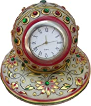 eCraftIndia Colorful Stone Studded Marble Table Watch (4 in, Red, Green and Golden)