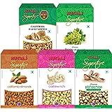 Nutraj Signature Daily Needs Dry Fruits Combo Pack 1 Kg (Almonds Plain 200g, California Walnuts 200g, R&S Pistachios 200g, Pl
