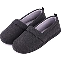EverFoams Womens' Memory Foam Comfort Knit House Shoes Light Weight Terry Cloth Loafer Slippers with Anti-Skid Rubber…