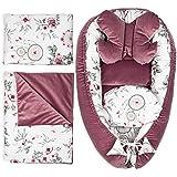 reducteur de lit Bebe - Cocon Bebe cale Bebe lit nid Ergonomique bébé Ensemble 5 pièces (Rose Foncé Velours 5 Pcs, 90x50 cm)