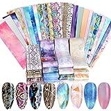 40 vellen Nail Foil Transfer Sticker, EBANKU Nail Art Decals Tips Wraps Transfer Foil Effen Kleur, Night Sky, Starry Star, Sn