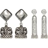 Radhika jewellers Silver Plated Earrings For Women (Pack of 2) (Silver)