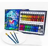 Arikaree® Colori Acrilici Dipingere, Set Pittura Tempera, Kit Tempere 24 Tubetti, 3 Pennelli, Tavolozza, Tela Colore Acrilico