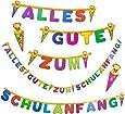 Oblique-Unique® Schulanfang ABC Girlande - Schuleinführung Girlande - Zuckertüte Kinder Schüler Zuckertüten Fest Dekoration - Wunderschöne farbenfrohe Girlande zur Schuleinführung