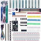 ELEGOO Kit Mejorado de Componentes Electrónicos con Módulo de Alimentación, Placa de Prototipos (Protoboard) de 830 Pines, Ca