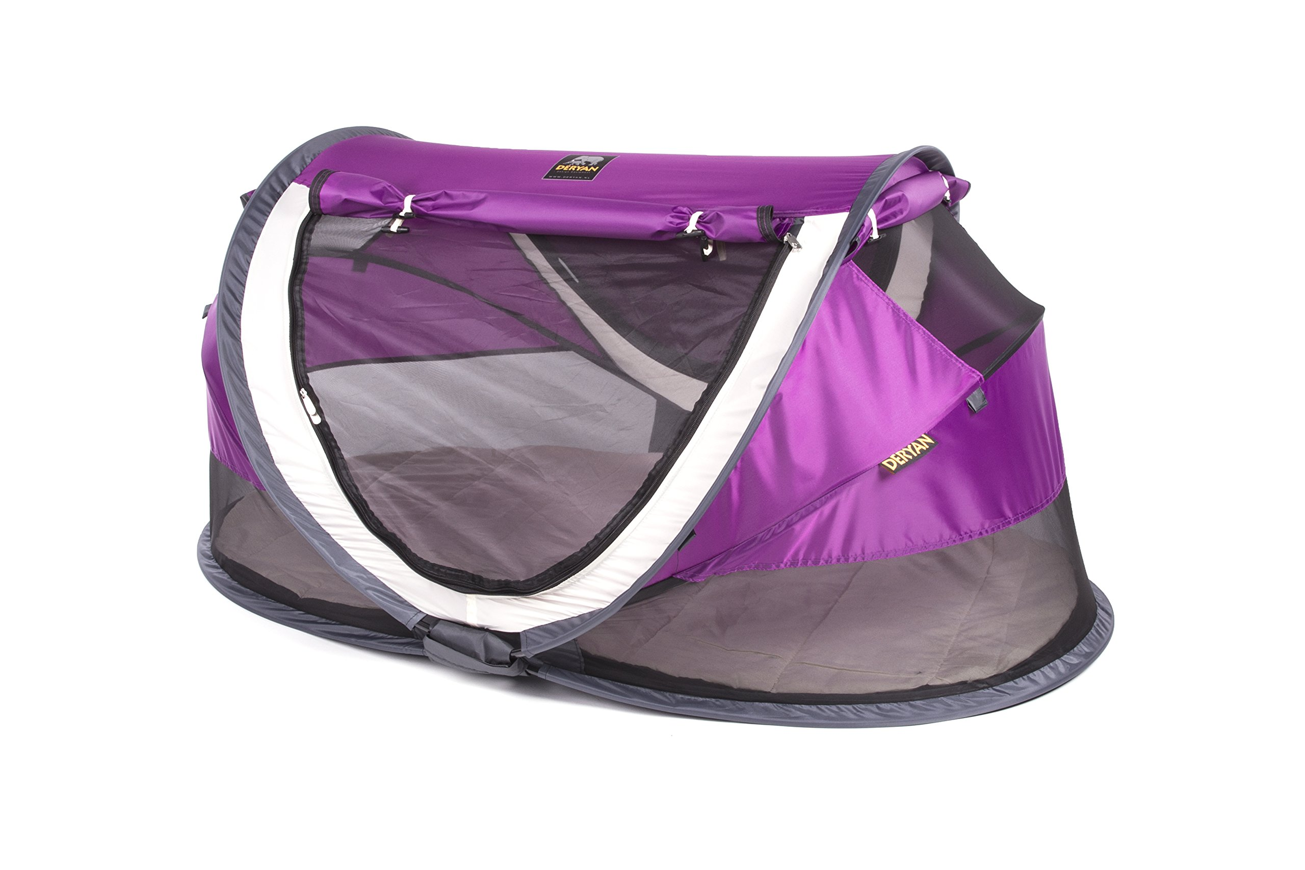 Travel Cot Peuter Luxe (Purple) Deryan 50% UV Protection and flame retardant fabric Setup in 2 seconds and a anti-musquito net  4
